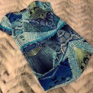 Lulu's Blue Snake Print Shift Dress